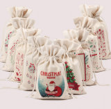 Christmas Xmas Cotton Gift Bags Santa Sack Organic Drawstring Bag