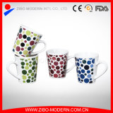 V Shape Mug with Dots Designs Ceramic Mug