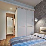 Hotel Small Built in Wall Wood Wardrobe with Two Sliding Door
