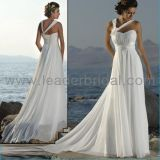Elegant Halter Chiffon Beach Bridal Dress Empire Maternity Wedding Gown (LD03)