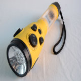 LED Flashlight Yellow Mobile Phone Charger Crank Radio (HT-3068)