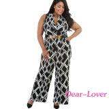 Fashion Box Print Wide Leg Black Plus Size Jumpsuit