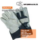 K-35 Grey Split Cow Patched Palm Liner Pasted Cuff Canvas Back Leather Working Safety Gloves