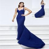 Blue Embroidery Satin Mermaid Evening Dress
