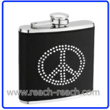 Stainless Steel Hip Flask with Rhinestone (R-HF045)