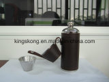 8oz Stainless Steel Round Leather Hip Flask with Wine Cups Wholesale Mini Wine Bottles