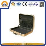 Middle Golden Aluminum Attache Case with Pockets (HL-5205)