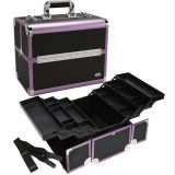 Large Black and Purple Trim Aluminum PRO Makeup Case (HX-A0709)