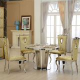 Modern Marble Dining Table Set with Stainless Steel Frame