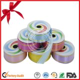 Polyester Printed Single Face Ribbon Roll with Gold Lines for Gift Box