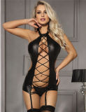 in Stock Four Size Black Sexy Lady Leather Lingerie