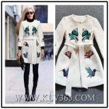 Ladies Fashion Long Wool Round Collar Coat Outerwear
