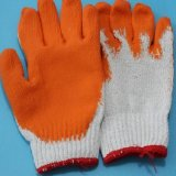 Rubber Orange Color Safety Cotton Gloves