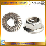 Stainless Steel 304 316 Hex Flange Nut with Serration