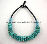 Semi Precious Stone Turquoise Crystal Chips Beaded Necklace