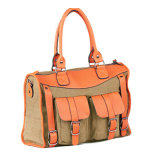 Fashionable Lady Bag Handbags Made of PU and Canvas