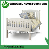 Pine Wood White Color Latest Bed Designs (W-B-0093)