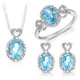 Blue Topaz 925 Silver Jewelry Set Wholesales