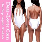 White Cutout and Mesh Detailed Teddy Bikini