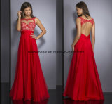 Backless Ladies Party Dress Red A-Line Prom Evening Dresses Ra903