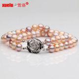 Double Strands High Quality Freshwater Cultured Pearl Bracelets Jewelry (E150001)