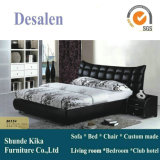 Hot Sell Ciff Modern Black Leather Bed (8015)