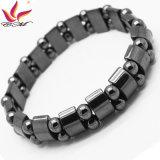 Htb-005 Fashion Jewelry Magnetic Double Orifice Semicircle Haematite Bracelet