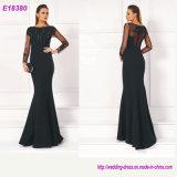 Beading Deep V-Neck Elegant Prom Long Sleeves Evening Dresses