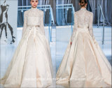 Cream Satin Ball Gowns Long Sleeves Lace Wedding Dresses Z104
