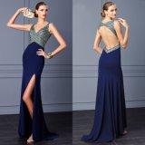 Hollowed Back Crystals Bodice Navy Blue Chiffon Evening Dress