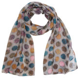 Fashion Polyester Voile Scarf with Colorful Dots Printed (YKY4224)