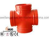 FM/UL/Ce Approved Ductile Iron Grooved Cross for Fire Fighting Systems