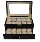 Elegant Wood 20 Compartment Display Watch Case Box with Lock/Key and Glass Top