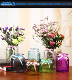 Hand-Blown Strip Spraying Color Glassware Vase for Hotel