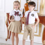 Fancy Design School Uniform White Shirts & Kaki Pants for Children