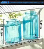 Vertical Stripe Colored Glass Flower Vase for Decoration
