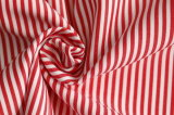 Red/Whiteclassical Stripe Plain Polyester Cotton Shirt Fabric