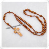 High Quality Natural Wood Beads Cord Knotted Rosary (IO-cr182)