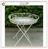 Newfangled Round Antique White Iron Tray Table