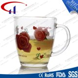 360ml Decal Rose Wholesale Glass Water Cup (CHM8081)