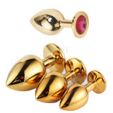 Stainless Steel Jewelry Crystal Golden Looking Anal Plug Medium Size