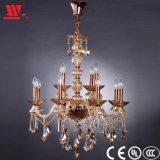 Golden Crystal Chandelier with Glass Decoration