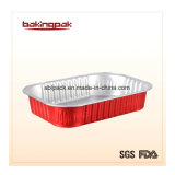 Red Smooth-Wall Aluminum Foil Take-Away Food Container