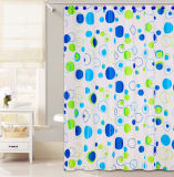 Tricolor Circle Disign PEVA Shower Curtain for Bathroom