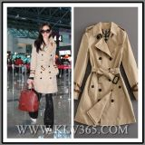 High Quality Clothing Women Ladies Fashion Trendy Winter Cotton Double Breasted Belted Trench Coat