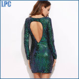 Green Long Sleeve Backless Elegant Women MIDI Dress