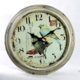 Shabby-Chic Bird Metal Wall Clock Unique Wall Decoration