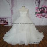Ruffle Long Sleeve Illusion Back Wedding Gown