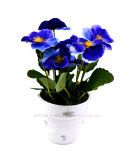 Colourful Artificial Pansy with Paper Mache Pot for Home/Office Decoration
