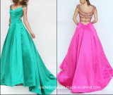 2017 Prom Formal Gown Beading Back Satin Evening Dresses Ld15293